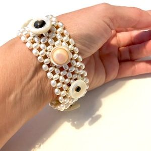 Genuine Pearl and Antique Button Bracelet